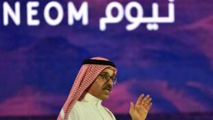 Le PDG de Neom, Nadhmi al-Nasr, lors d'une conférence face aux investisseurs le 25 octobre2018.