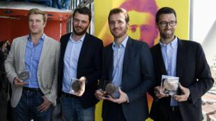 Les lauréats du prix Albert Londres, Samuel Forey du Figaro, David Thomson de RFI, Tristan Waleckxet et Matthieu Renier de France 2, le 4 juillet 2017.
