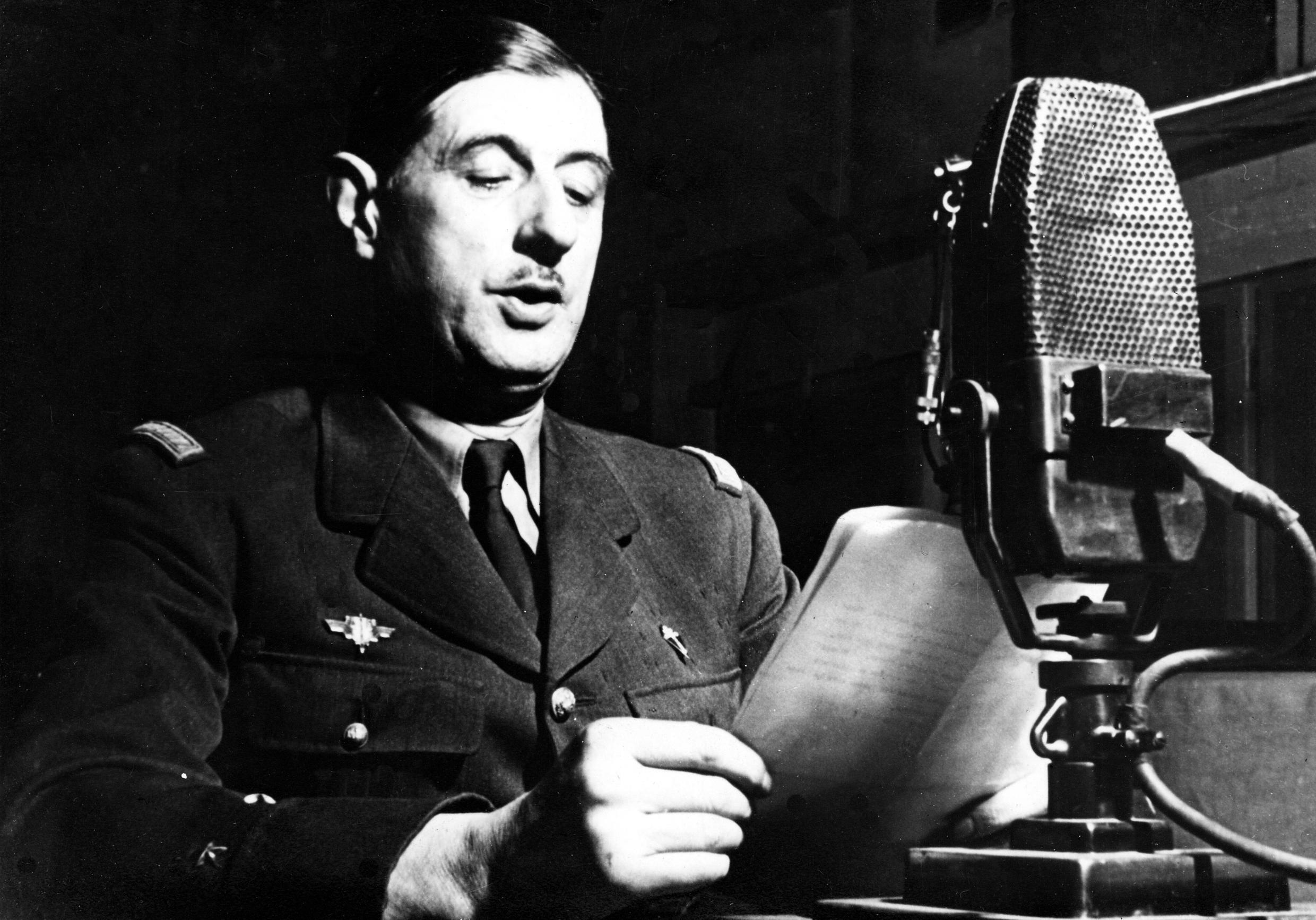 General Charles de Gaulle at the BBC in October 1941.