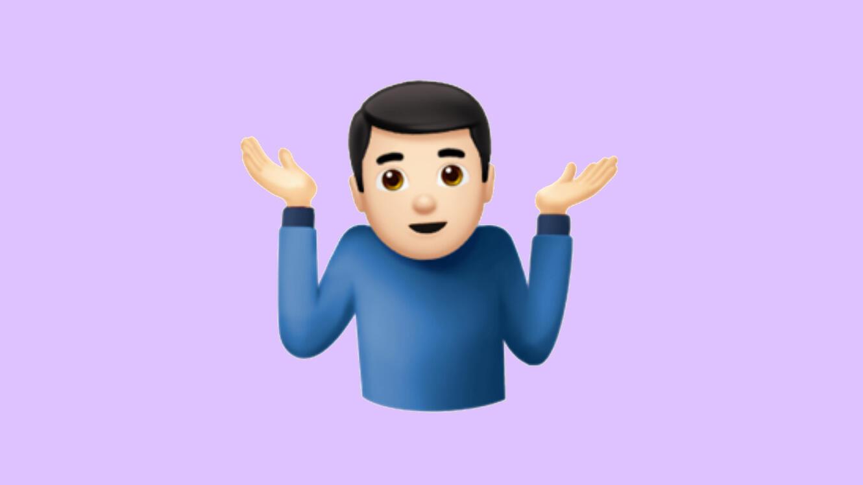 "La version iOS de l'emoji ""C'est pas ma faute""."