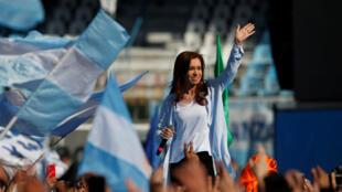 La expresidenta Cristina Fernández de Kirchner durante su campaña electoral para las elecciones legislativas, el 16 de octubre de 2017