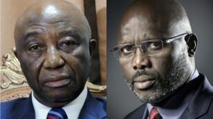Le vice-président Joseph Nyumah Boakai (à g.) et l'ancien footballeur George Weah (à d.) étaient en lice pour la présidentielle au Liberia.