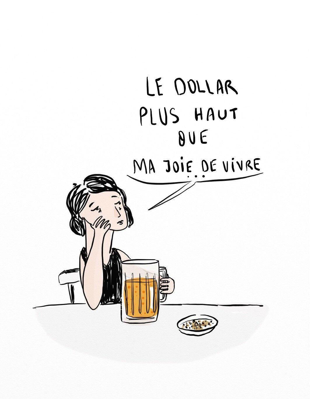 """La dessinatrice turque Aslı Alpar ironise sur le cours du dollar """"plus haut que ma joie de vivre"""" en Turquie. Dessin traduit en français par ses soins pour France 24."""
