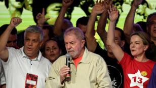 Luiz Inácio Lula da Silva prononce un discours lors du Congrès national du parti des Travailleurs, le 3 juin 2017.