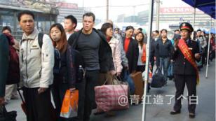 Matt Damon, coincé au milieu des embouteillages du Nouvel An chinois, merci Photoshop.