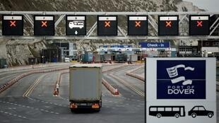 A truck drives towards the entrance to the Port of Dover, in the UK, on January 15, 2021.