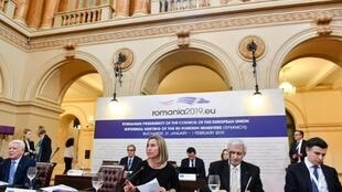 EU diplomatic chief Federica Mogherini, centre, said an international contact group would be created with the aim of holding new elections in Venezuela