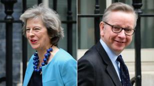 La ministre de l'Intérieur, Theresa May, et son collègue à la Justice, Michael Gove, tous deux candidats à la succession de David Cameron.