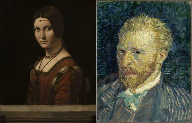 Portrait de femme, dit la Belle Ferronnière de Léonard de Vinci ; Autoportrait de Vincent van Gogh.