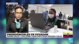 2021-02-21 13:32 Informe desde Quito: Arauz y Lasso disputarán segunda vuelta en presidenciales de Ecuador