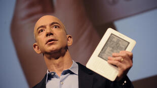 Amazon founder Jeff Bezos is seen in 2009 unveiling the Kindle 2, one of the company's electronic reader devices, one step in the long march  by the company which has become of the world's most valuable