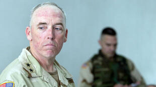 General Geoffrey Miller, seen here in a photograph from May 5, 2004, was commander of Guantanamo Bay prison from 2002 to 2004