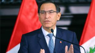 El presidente de Perú, Martín Vizcarra, durante un pronunciamiento en el Palacio de Gobierno de Lima, Perú, en donde anunció la reforma integral del sistema de justicia. 11 de julio de 2018.