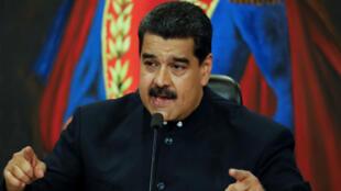 El presidente Nicolás Maduro en rueda de prensa en el Palacio de Miraflores este 17 de octubre.