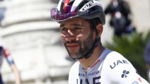Le Colombien Fernando Gaviria au départ de la 7e étape du Tour d'Italie, de Vasto à L'Aquila, le 17 mai 2019
