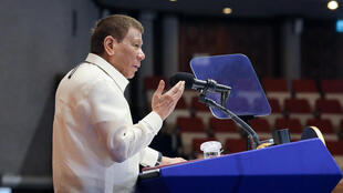 President Rodrigo Duterte delivering his annual State of the Nation Address to congress in Manila in a picture provided by the Philippines' Presidential Photo Division