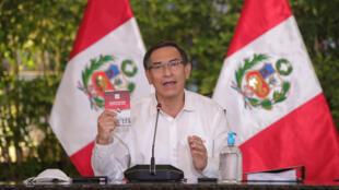 El presidente Martín Vizcarra, junto al gabinete ministerial, brinda una conferencia de prensa para informar sobre el balance de los 100 días de la emergencia nacional por la pandemia del nuevo coronavirus.