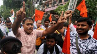Activistas protestaron por la publicación de la lista final del Registro Nacional de Ciudadanos (NRC), en Guwahati, Assam, India, el 31 de agosto de 2019.