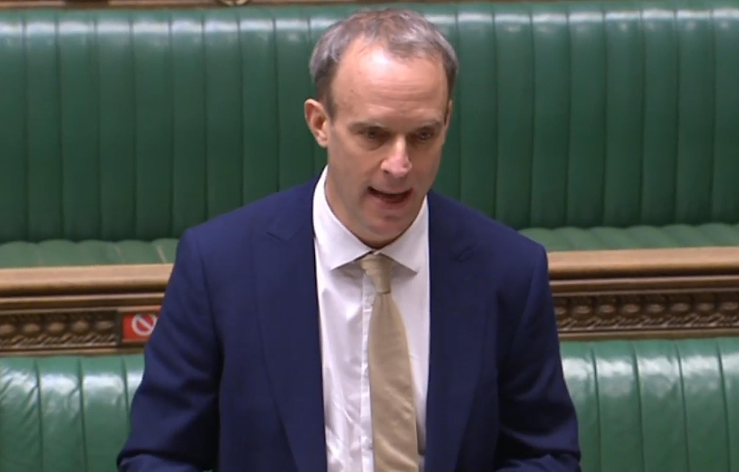 """Foreign Secretary Dominic Raab told parliament that Britain had a """"moral duty to respond"""" to human rights abuses by China"""