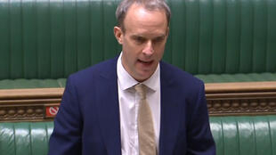 "Foreign Secretary Dominic Raab told parliament that Britain had a ""moral duty to respond"" to human rights abuses by China"