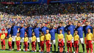 L'équipe de France avant son match avec l'Australie à Kazan, en Russie, le 16 juin 2018.