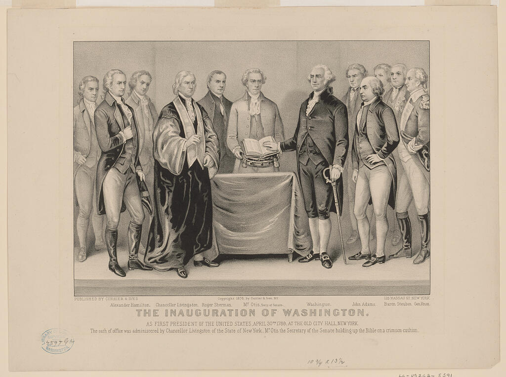George Washington en la primera ceremonia de investidura en Nueva York, el 30 de abril de 1789.