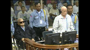 Khieu Samphan and Nuon Chea during their sentence hearing