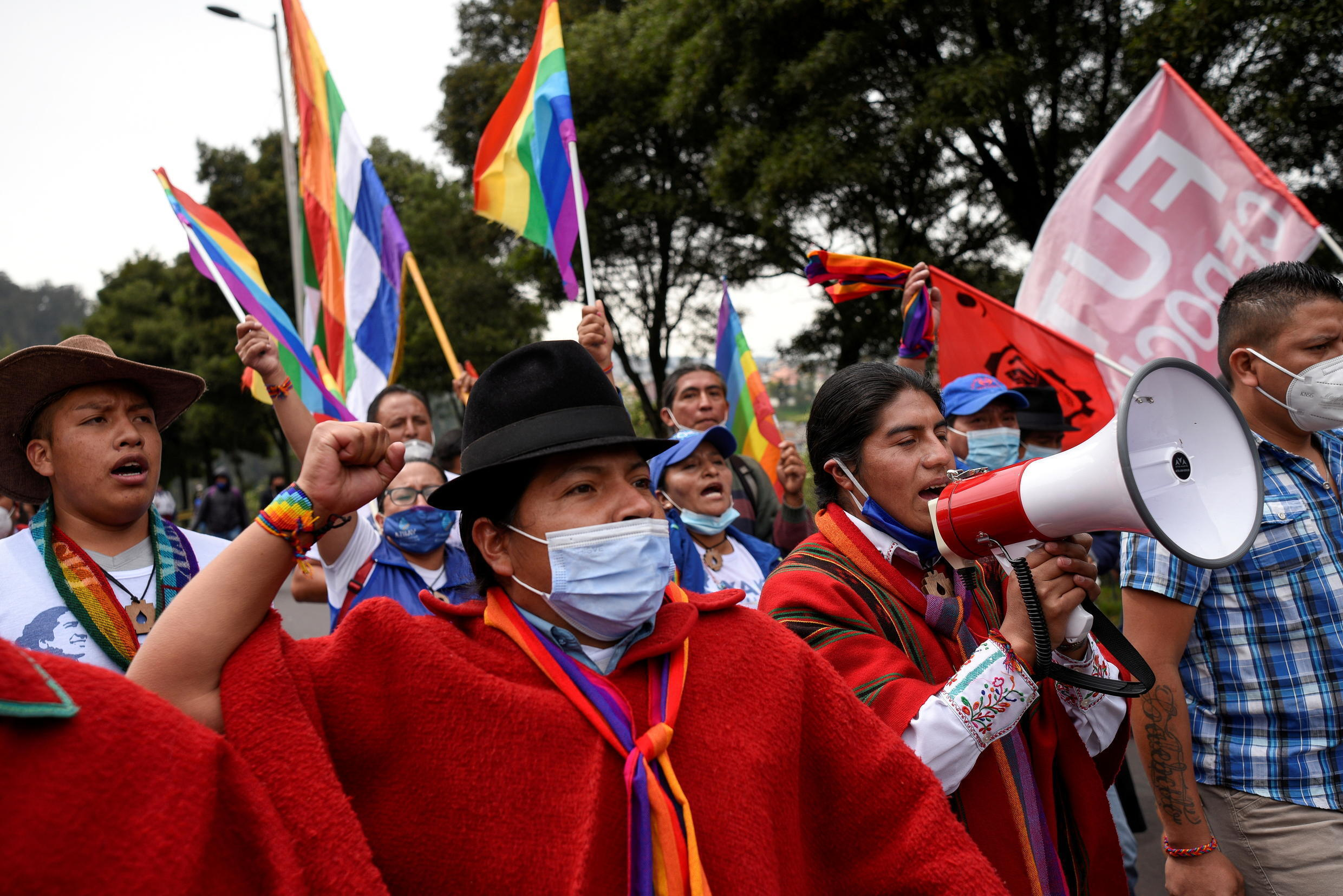 Members of indigenous communities and supporters of the Ecuadorian presidential candidate Yaku Pérez march in Quito, Ecuador, on February 23, 2021.