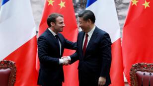 El presidente Xi Jinping recibe a su homólogo francés, Emmanuel Macron, en Beijing.