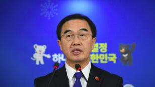 Le ministre de l'Unification sud-coréen Cho Myoung-gyon s'est exprimé lors d'une conférence de presse le 2 janvier.
