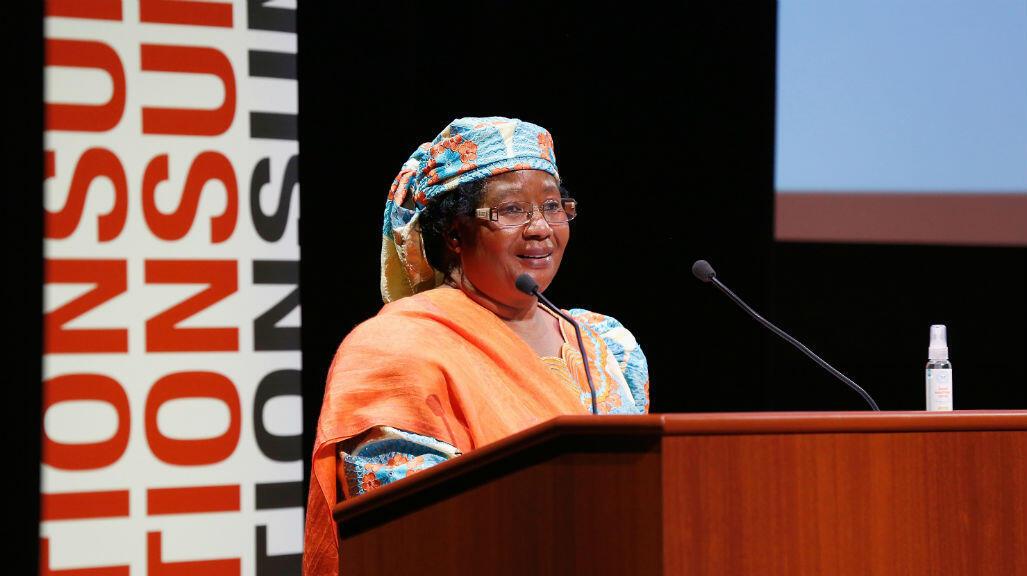 Joyce Banda lors d'un discours au Global citizen festival le 26 septembre 2014, à New York.
