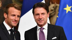 Emmanuel Macron y el primer ministro italiano Giuseppe Conte tras una conferencia de prensa conjunta en Roma el 19 de septiembre de 2018.