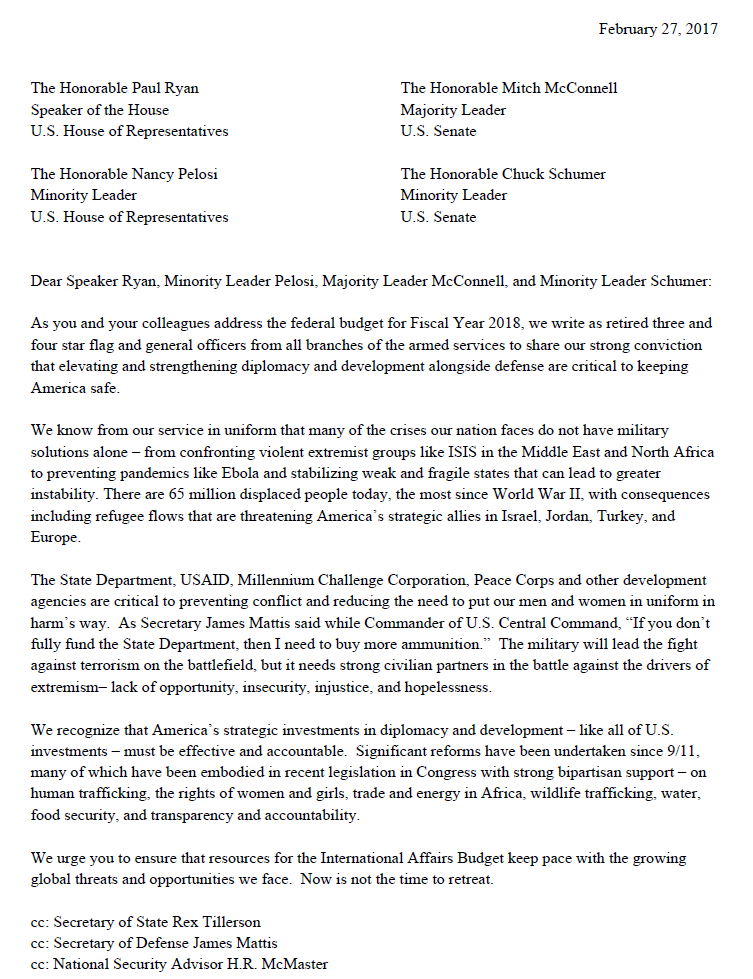 Letter to lawmakers