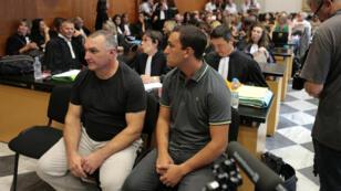 Lucien Straboni, 50 ans, et Pierre Baldi, 22 ans, lors du procès de la rixe de Sisco, jeudi 15 septembre 2016, à Bastia.
