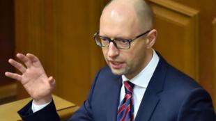 Arseni Iatseniouk s'adresse au Parlement ukrainien le 16 février 2016 à l'occasion de son rapport annuel.