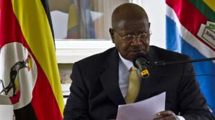 Le président ougandais Yoweri Museveni, le 2 août 2014, à Kampala (archives)