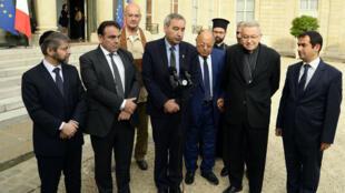 Les représentants religieux après leur entretien avec François Hollande, le mercredi 27 juillet à l'Élysée.