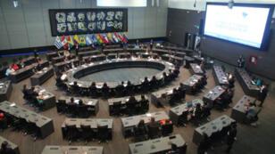 Vista panorámica de una sesión del Modelo de Unión de Naciones Suramericanas en la sede de la entidad en la ciudad Mitad del Mundo, el 26 de abril de 2018.