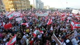 لبنانيون يتظاهرون في 29 آب/أغسطس 2015