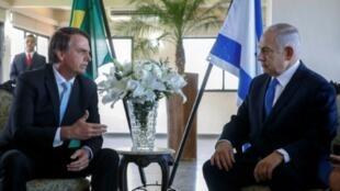 الرئيس البرازيلي جايير بولسونارو وبنيامين نتانياهو في ريو دي جانيرو في 28 ديسمبر/ كانون الأول 2018.