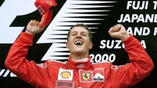 La joie de Michael Schumacher après avoir remporté le GP du Japon, le 8 octobre 2000