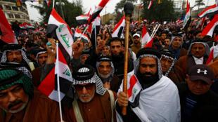 احتجاجات بغداد، العراق في 24 يناير / كانون الثاني 2020.