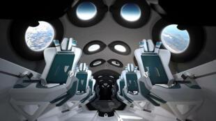 Image de synthèse de l'intérieur de la cabine du vaisseau spatial de Virgin Galactic, publiée le 28 juillet 2020 par la société