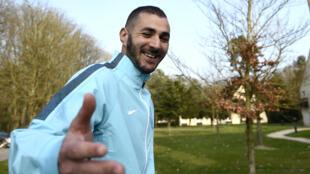 L'attaquant de l'équipe de France Karim Benzema à Clairefontaine, le 23 mars 2015.