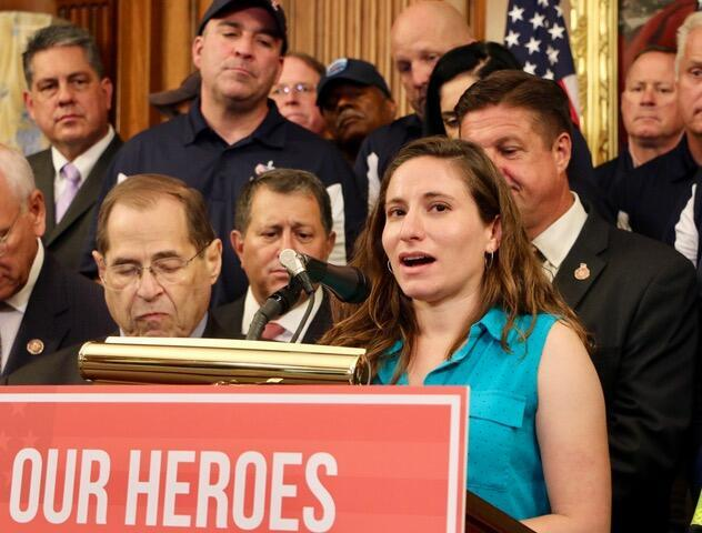 Lila Nordstrom speaking at a press conference in June 2020, after a congressional hearing about compensation for 9/11 survivors. Nordstrom was in high school, blocks from the World Trade Center, when the attacks took place.
