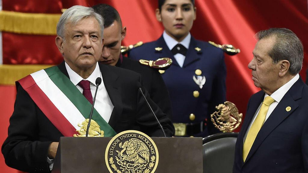 Le novueau président du Mexique, Andrés Manuel Lopez Obrador, prête serment à Mexcio le 1er décembre 2018.