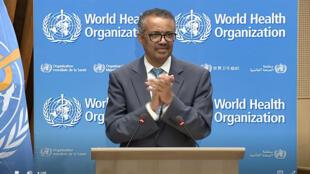 Photo issue du site internet de l'OMS du directeur général Tedros Adhanom Ghebreyesus à l'ouverture de la session virtuelle le 18 mai 2020