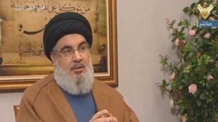صورة مأخوذة من تلفزيون المنار التابع لحزب الله في 12 يوليو/تموز 2019 يظهر فيها حسن نصر الله