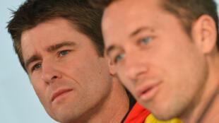 Philipp Kohlschreiber, au premier plan, accompagné de son nouveau capitaine Michael Kohlmann.