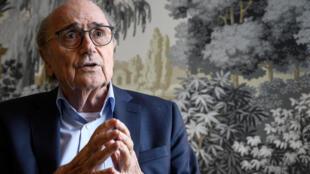 L'ancien président de la Fifa, Sepp Blatter, en interview avec l'AFP, à Zurich, le 28 mai 2019
